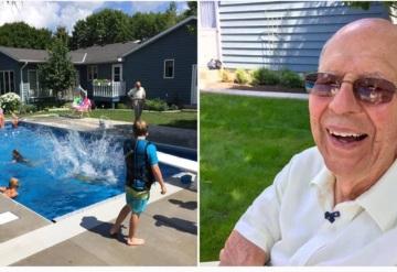 Para evadir depresión anciano construye alberca para los niños del barrio