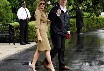 Melania Trump vuelve a volar con ´stillettos´ para visitar a las víctimas de Harvey