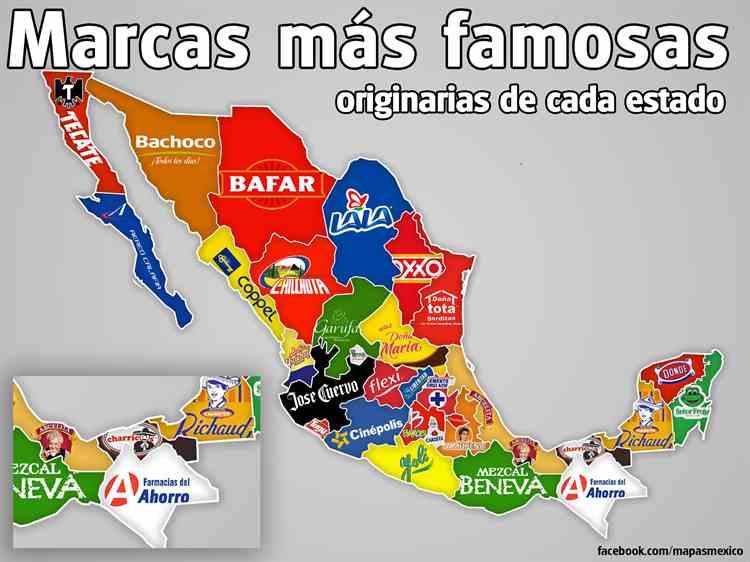 Mapa Que Ilustra A Cada Estado Con La Marca Más Representativa