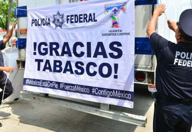 Policía Federal mandará 40 toneladas de víveres recaudados por los tabasqueños
