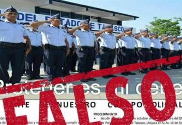 Circula en redes FALSO reclutamiento de la Academia de policías de Tabasco