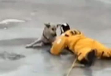 Arriesga su vida para salvar a un perro en río congelado