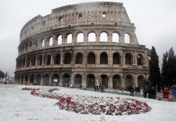 Roma de blanco por inusual ola de frío