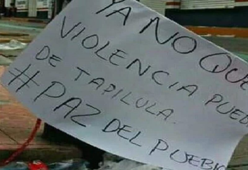 Balacera y actos de violencia en Tapilula, Chiapas