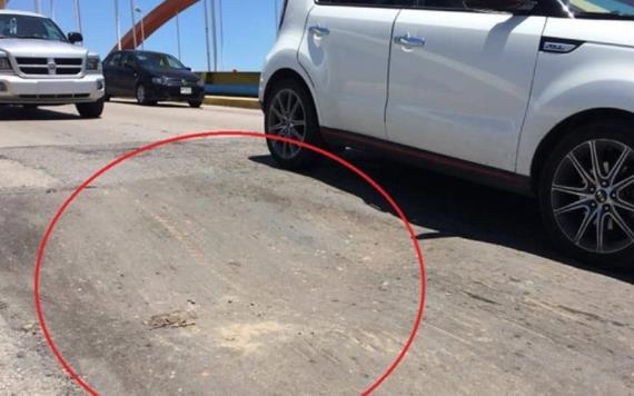 Hundimiento en el cabezal del Puente Carrizal 4