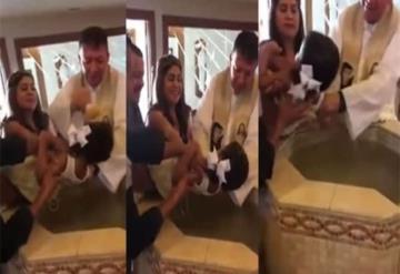Niña insulta a sacerdote durante bautizo; se vuelve viral