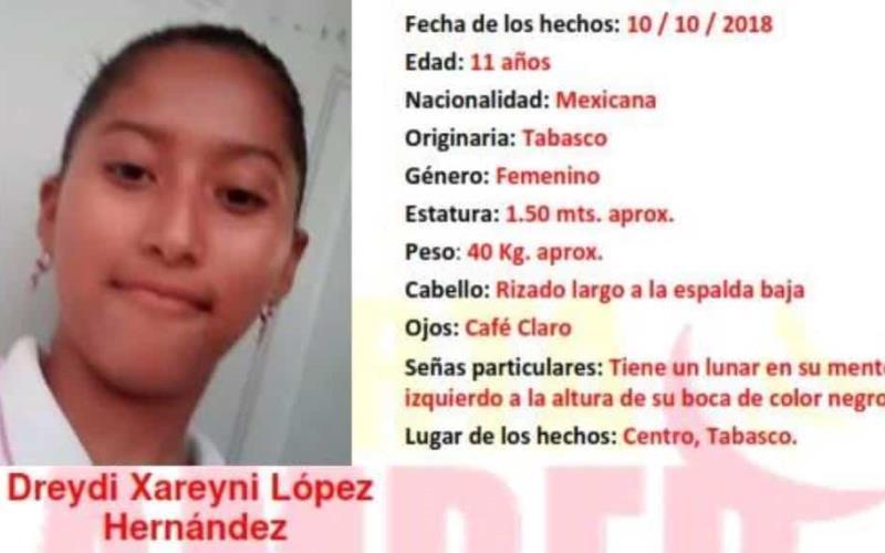 Se activa Alerta Amber en Tabasco, por la menor Dreydi Xareyni López Hernández