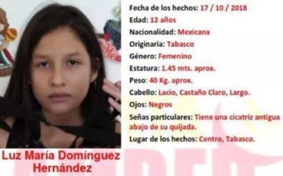 Se activa Alerta Amber en Tabasco, por la menor Luz María Domínguez Hernández