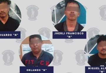 Detiene a 4 sujetos por el delito de robo con violencia en Villahermosa