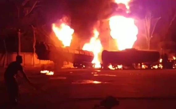 Explota pipa en el estacionamiento del Hotel Miro carretera Villahermosa-Cárdenas