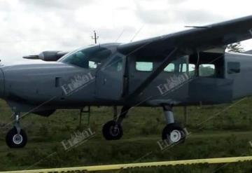 Abandona avioneta en rancho de Tenosique con sospechoso cargamento en su interior