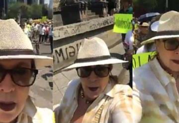 Acaban en redes a Laura Zapata por participar en marcha fifí