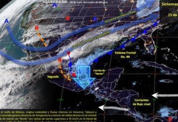 Frente Frío 44 traerá lluvias intensas para Tabasco; se pronostica dure todo el fin de semana