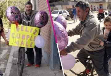 Abuelito adornó su bicicleta como sorpresa de cumpleaños para su nieta