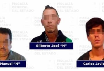 Asegura FGE a tres sujetos por robo con violencia