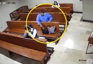 Video: Hombre roba celular en plena iglesia, al salir se persigna
