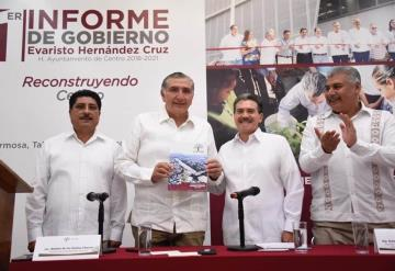 Agradece Adán Augusto apoyo de AMLO para detonar el desarrollo de Tabasco