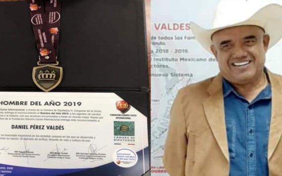Entregan galardón de hombre del año a Daniel Pérez
