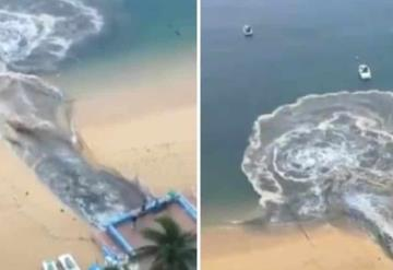 Captan a hotel descargando aguas negras en playa de Acapulco