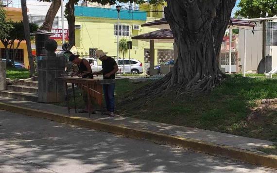 ¿Gusta cooperar?; desde Tuxtla, marimberos tocan a domicilio en calles de Villahermosa