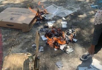 Elecciones en Hidalgo fuera de control, detienen a sujeto por quemar papelería electoral