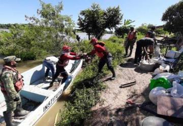 Evacuan a habitantes de rancherías de Jonuta por desbordamiento del río Usumacinta
