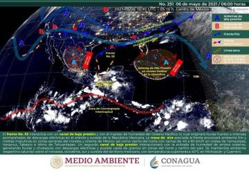 Se esperan lluvias fuertes aisladas en territorio tabasqueño