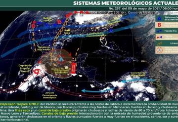 Lloviznas aisladas en Huimanguillo, Teapa y Tacotalpa