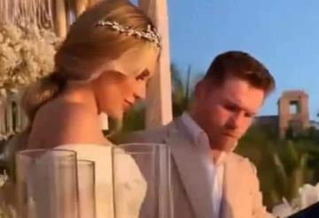 Canelo Álvarez y Fernanda Gómez se casaron por el civil en Nayarit