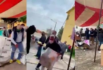 Sujetos irrumpen y ocasionan destrozos en casilla en Metepec