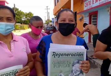Morenistas salen a vía pública a promover juicio contra ex presidentes de Jonuta